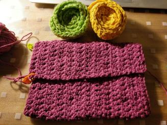 crocheted purse and flowers